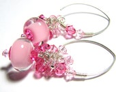 Pink dangle boro bead earrings  lampwork beads sterling silver Swarovski crystals custom ear wires  -  Bubble