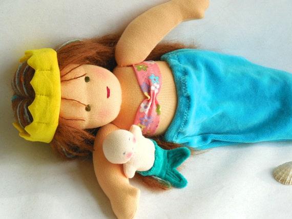 GermanDolls 12 inch Waldorf Mermaid Princess Doll and Pocket Merbaby, Waldorf toy