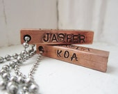 Personalized antiqued copper bar and stainless steel necklace-- perfect for Father's Day