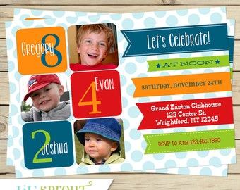 THREE CHILD birthday Invitation - Triplet or sibling birthday invitation - boy or girl- choose your colors - joint birthday invitation