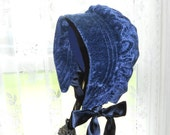 Bonnet Holiday Accent Bonnet Blue Crushed Velour Girls 3 to 4 years - RESERVED for SS IMPERFECT 35% off