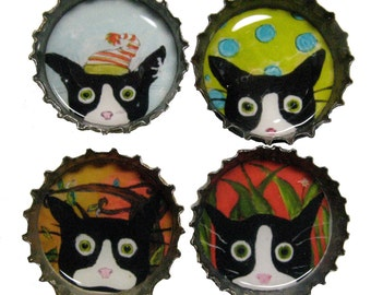 Crazy Cat Magnets - Funny Tuxedo Cat  Art - Bottle Cap Magnets - Set of 4 - Silent Mylo Tuxedo Cat - Gift for Cat Lover - Cat Gifts