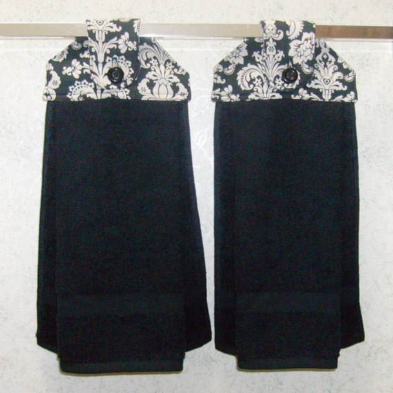 SET of 2 - Hanging Cloth Top Kitchen Hand Towels - Black and White ...