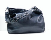 Midnight Blue Leather Hobo.Leather Shoulder Bag.