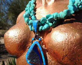 Gorgeous Turquoise, Opal, Titanium Druzy and Sterling Silver Necklace