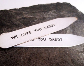 Father's Day Gift Personalized sterling silver hand stamped collar stays