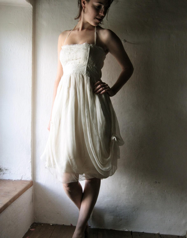wedding dress, short wedding dress, silk bridal gown, alternative wedding dress, hippie wedding, boho wedding gown, ivory wedding dress