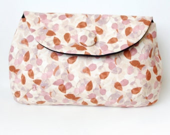 pink & brown leafy clutch purse