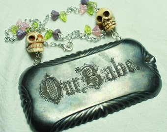 Our Babe Antique Coffin Plaque Necklace with Skulls and Flowers