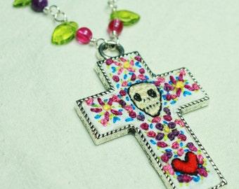 Embroidered Dia De Los Muertos Cross
