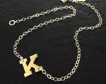 Sideways Initial Bracelet or Necklace -14K Solid Yellow Gold, Initial of Your Choice