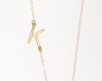 sideways initial necklace 14k solid gold your initial asymmetrical necklace as seen on audrina patridge