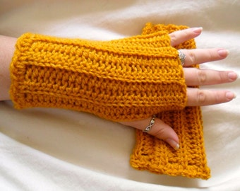 Wool Blend Crocheted Antique Gold Fingerless Gloves - Mustard Yellow - Great for Fall Fashion
