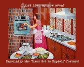 QS-009 Artistic Ephemera Art - 8x10 PRINT - Retro Lady Oven Timer Set to Explode - Also Available as Small Prints, Postcards, Recipe Cards