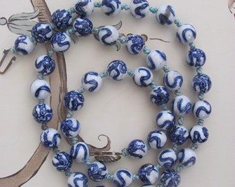 vintage Chinese porcelain hand painted beads