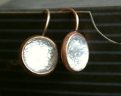 Silver Copper Button Earrings