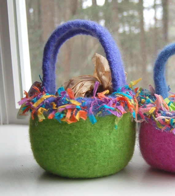 Special Order for Gayle Easter basket felted wool bowl periwinkle lime
