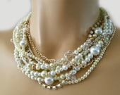 Pearl Choker Necklace, Wedding Necklace Bridal Jewelry, Ivory Champagne Pearl Rhinestone Necklace Statement, Wedding Jewelry, Heart, Ivory