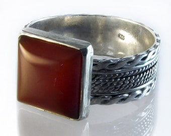 Sterling Silver Ring with Square Carnelian