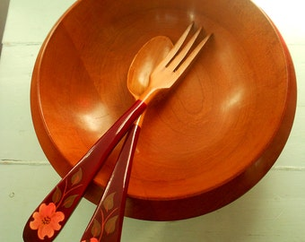 Vintage circa 1952 Wooden Margaret Studios Bowl and Salad Tongs with Dogwood - Antigo, Wisconsin