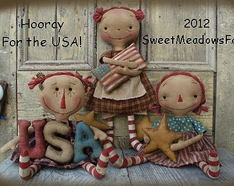 Primitive Americana E-PATTERN Hooray for the USA Raggedy Dolls and Star Garland PDF