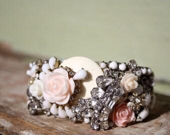 Blush Bridesmaid bracelet, vintage collage cuff, CUSTOM bridesmaid statement cuff bracelet, blush and ivory bracelets, rhinestone bracelet