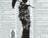 Geisha Girl.Japanese.Silhouette.Birthday Gift, Antique Book Page Print. buy 3 get 1 FREE.oriental.asian.japanese.kimono.parasol.mom eco