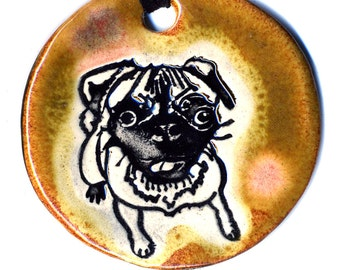 Pug Ceramic Necklace In Brown