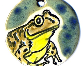 Bullfrog Ceramic Necklace In Blue and Green