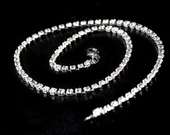Crystal Clear Rhinestone Chain Up to 22 inches Silver Tone 3.8mm
