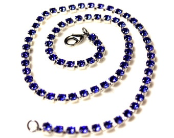 Blue Sapphire Crystal Rhinestone Chain Up to 22 inches Silver Tone 4.2mm