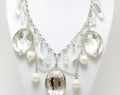 White and Silver Glitter Barbie Shoe Necklace
