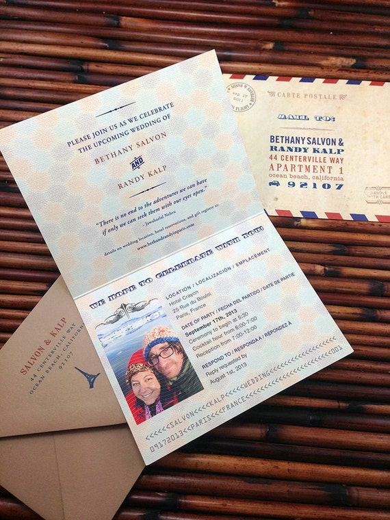 Wanderlust Passport Invitations great for birthdays, weddings, showers