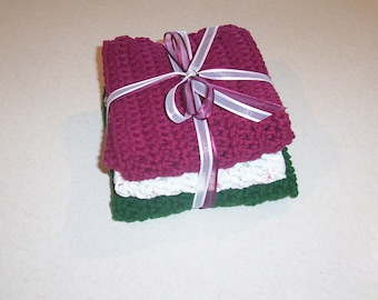 Hand Crocheted Christmas Dishcloths Set of 3