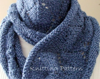 Leafy Lace Infinity or Regular Cowl Knitting Pattern
