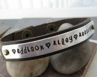 Personalized Mothers Bracelet, Leather Cuff Bracelet, 1/2 inch leather cuff, choose your own cuff color, 25 character max