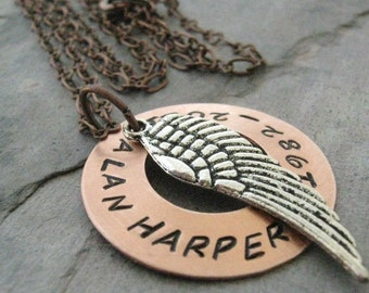 Personalized Memorial Necklace, Angel Wing Necklace, Sympathy Necklace, Loss of loved one, hand stamped copper washer with angel wing charm