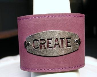 Plum Leather Adjustable Cuff Bracelet -  CREATE