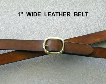 Narrow Leather Belt, Custom Sized Belt, Brown Leather Belt,  Black Leather Belt