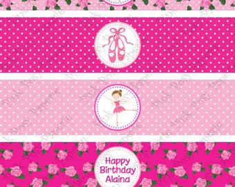 Printable Ballet Ballerina Birthday Water Bottle Wrappers