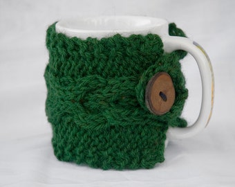 Pine Green Hand knit X's and O's Cabled Coffee Cup Cozy