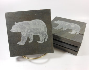 Bear Coasters - 4 Carved Slate Coasters - Natural Stone Coasters for Drinks, Rustic Handmade Coaster, Vacation Cabin Hunting Ski Lodge Decor