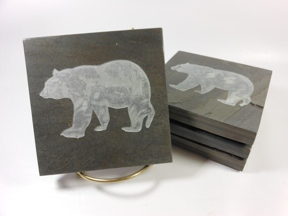 Bear coasters set carved natural slate stone more drink coaster designs - Slate drink coasters ...