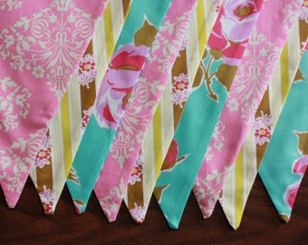 Girl's Baby Bunting.  Photo Prop, Nursery Decoration, Party Banner. Pink, Aqua and Yellow, Ready To Ship as Shown.