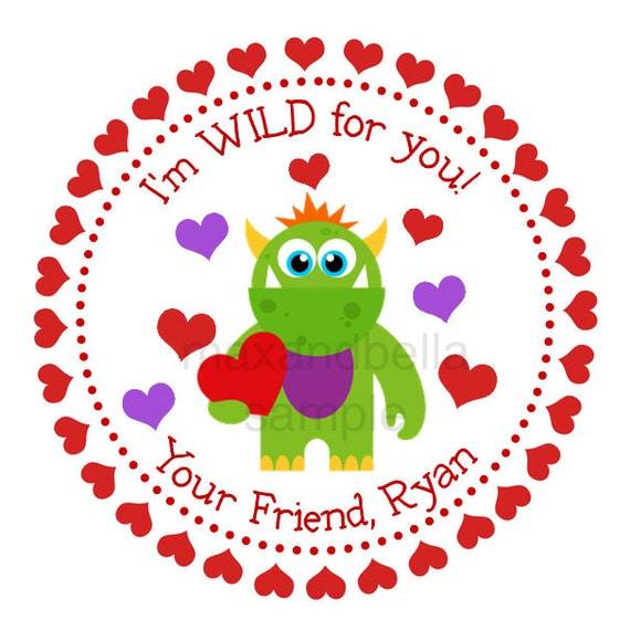 Green love monster personalized stickers valentines day for 18 8 salon rancho santa margarita