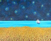 Night Sail Print Shelagh Duffett  sailboat stars sky turquoise ocean seascape)
