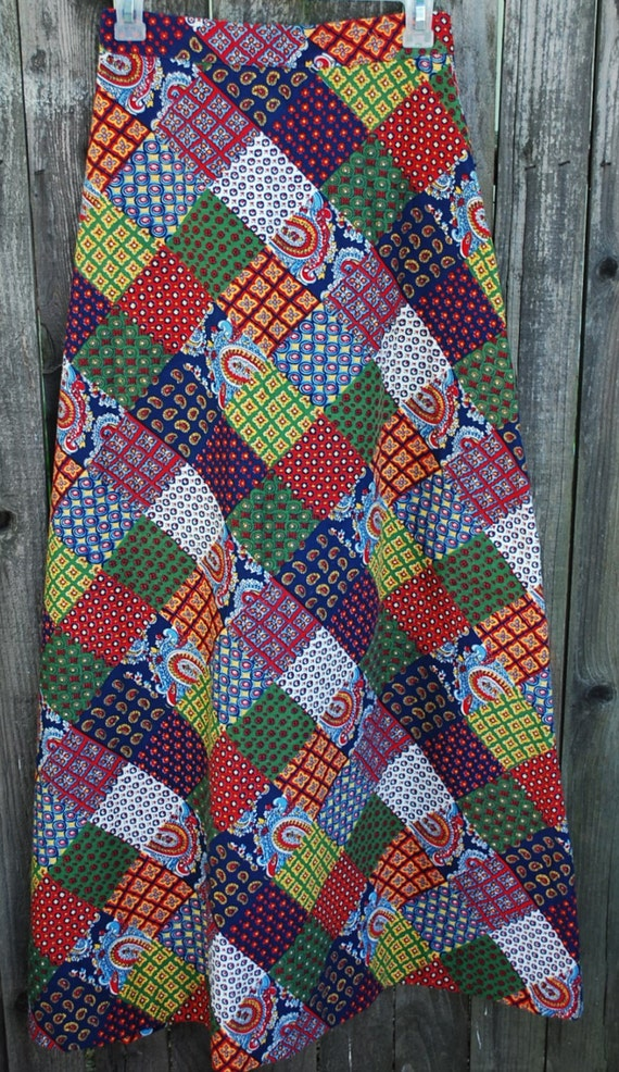 vintage maxi skirt patchwork fabric