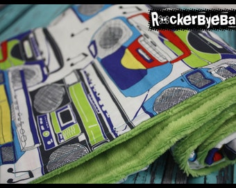 Boom box and music baby or toddler blanket Punk Rock Geek Unisex black lime purple with Jade Green MInky Smooth