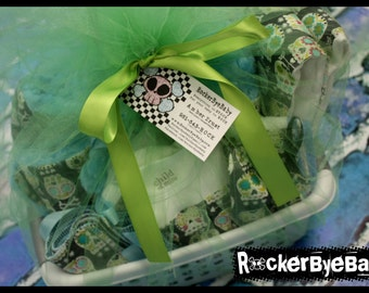 Custom Designer gift basket for your little punk cotton and minky Blanket Onesie Burp Rags and more girl boy unisex
