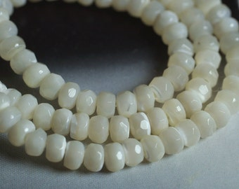 MOP faceted rondelle white 4mm, 24 pcs (item ID L03MOPFRN4)